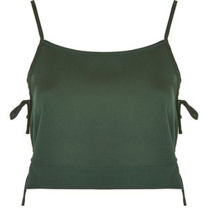 Side Tie Crop Camisol Forest Green. NWT. Size US 6